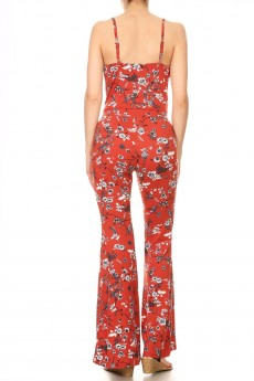 RUSTY/WHITE/BLACK FLORAL PRINT FLARE JUMPSUIT WITH CAMI TOP#8JPS01-FL11C