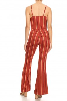 RUSTY/BLACK/MUSTARD STRIPE PRINT FLARE JUMPSUIT WITH CAMI TOP#8JPS01-SP02