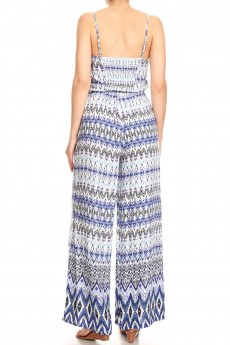 NAVY/BLUE/WHITE BOHO PRINT WIDE LEG JUMPSUIT W/ SMOCKING#8JPS12-03