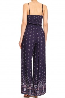 NAVY/CORAL BOHO BORDER PRINT  WIDE LEG JUMPSUIT W/ SMOCKING#8JPS12-05
