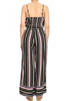 BLACK/MAUVE/GREEN STRIPE BORDER PRINT WIDE LEG JUMPSUIT W/ SMOCBACK#8JPS12-BD16
