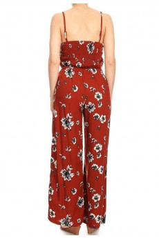 RUSTY/WHITE FLORAL PRINT WIDE LEG JUMPSUIT W/ SMOCKING BACK#8JPS12-FL02A