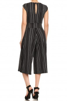 BLACK/WHITE STRIPED PRINT CULOTTES JUMPSUIT W/ SASH TIE#8JPS25-03