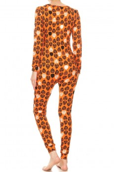 ORANGE/BLACK/WHITE HALLOWEEN PRINT LIGHT FLEECE LINED BUTTONED #8JPS26-CV23
