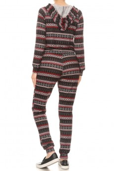 BLACK/HEATHER GREY/RED FAIRISLE PRINT SWEATER KNIT HOODIE JUMPSUIT#8JPS27-HL33