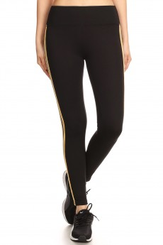 BLACK CROPPED LEGGING WITH SIDE MUS/WHITE/BLACK TAPING#8L108-06