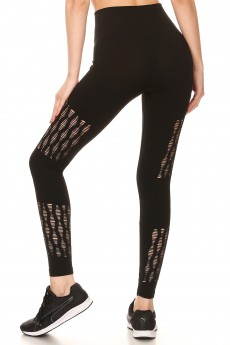 BLACK SEAMLESS HIGH WAIST LEGGING W/ DESTRUCTION PANELS#8L29
