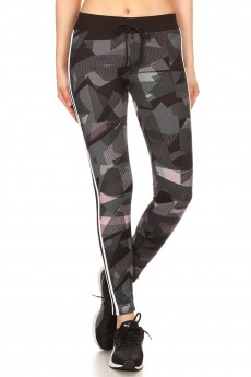 BLACK/MAVUE ABSTRACT GEO PRINT LEGGING W/ SIDE STRIPED PANELS#8L31-04