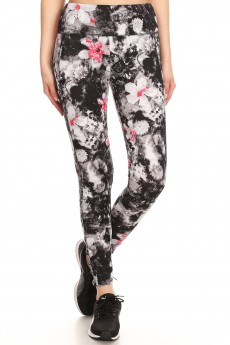 BLACK/WHITE/RED ABSTRACT FLORAL PRINT ANKLE LEGGING W/ STRAPS#8L35-FL05B