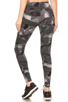 BLACK/MAUVE ABSTRACT GEO PRINT BRUSH POLY HIGH WAIST LEGGING#8L36-03