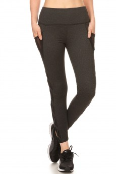 HIGH WAIST SPORT LEGGING W/ SIDE CRISS CROSS STRAPS & OVERLAP#8L56