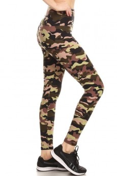 GREEN/BLACK/BROWN CAMO PRINT HIGH WAIST FLEECE LINED ANKLE LEGGING#8L76-01