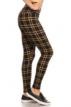 BLACK/CAM PLAID PRINT HIGH WAIST FLEECE LINED ANKLE LEGGING#8L76-13