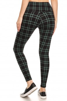 BLACK/GREEN PLAID PRINT HIGH WAIST FLEECE LINED ANKLE LEGGING#8L76-14