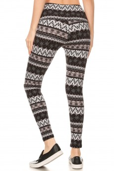 BLACK/GREY FAIRISLE PRINT HIGH WAIST FLEECE LINED ANKLE LEGGING #8L76-22