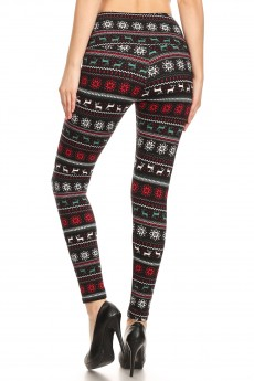 BLACK/WHITE REINDEER PRINT HIGH WAIST FLEECE LINED ANKLE LEGGING #8L76-30