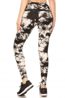 BLACK/WHITE TIE DYE PRINT HIGH WAIST ANKLE LEGGING#8L79-05