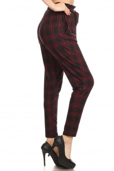 BLACK/RED PLAID PRINT PAPER BAG WAIST PANTS #8PNT03-04