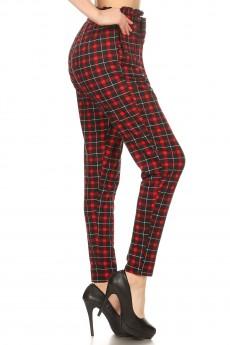 BLACK/RED PLAID PRINT PAPER BAG WAIST PANTS#8PNT03-09