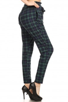 GREEN/NAVY PLAID PRINT PAPER BAG WAIST PANTS #8PNT03-10