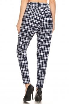 BLACK/NAVY/WHITE PLAID PRINT PAPER BAG WAIST PANTS#8PNT03-12