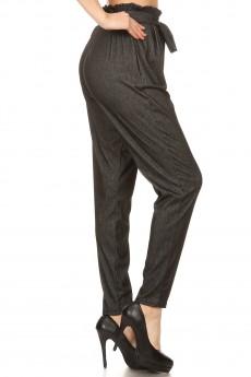 STRETCH DENIM PAPER BAG WAIST PANTS#8PNT10