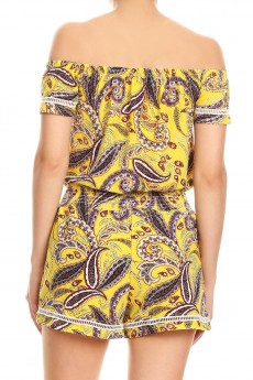 YELLOW PAISLEY PRINT OFF SHOULDER ROMPER W/ SMOCKING#8RMP05-06