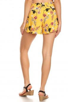 YELLOW/RED/WHITE FLORAL PRINT PAPER BAG WAIST SHORTS W/ SASH#8SH23-FL03