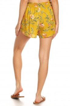 MUSTARD/WHITE/ORANGE FLORAL PRINT PAPER BAG WAIST SHORTS W/ SASH#8SH23-FL07