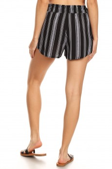 BLACK/WHITE/HEATHER GREY STRIPE PRINT PAPER BAG WAIST SHORTS W/ SASH#8SH23-SP01A