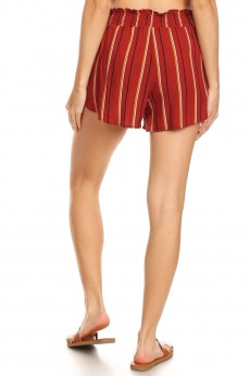 RUSTY/BLACK/MUSTARD STRIPE PRINT PAPER BAG WAIST SHORTS W/ SASH#8SH23-SP02