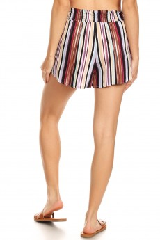 BLACK/MULTI COLOR STRIPE PRINT PAPER BAG WAIST SHORTS W/ SASH#8SH23-SP20