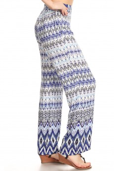 NAVY/BLUE/WHITE BOHO BORDER PRINT STRAIGHT LEG PANTS#8SLP01-10
