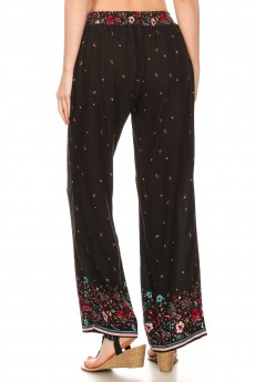 BLACK/RED FLORAL BORDER PRINT STRAIGHT LEG PANTS#8SLP01-BD02
