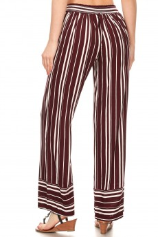 BURGUNDY/WHITE STRIPE BORDER PRINT STRAIGHT LEG PANTS#8SLP01-BD03