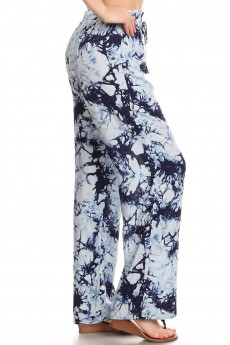 NAVY/BLUE TIE DYE PRINT PAPER BAG WAIST STRAIGHT LEG PANTS#8SLP05-10