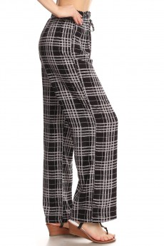 BLACK/HEATHER GREY PLAID PRINT PAPER BAG WAIST STRAIGHT LEG PANTS #8SLP05-11