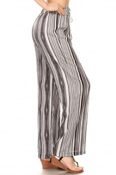 BLACK/GREY/WHITE STRIPE PRINT PAPER BAG WAIST STRAIGHT LEG PANTS#8SLP05-12