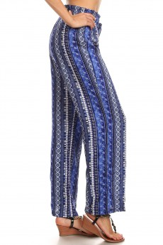 NAVY/WHITE BOHO PRINT PAPER BAG WAIST STRAIGHT LEG PANTS#8SLP05-13