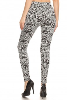 WHITE/BLACK HOUND STOOTH FLORAL PRINT TREGGING WITH ZIPPER DETAIL #8TRG03-02