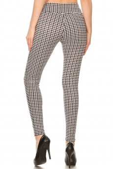 BLACK/WHITE/BURGUNDY HOUNDSTOOTH PRINT TREGGING WITH ZIPPER DETAIL#8TRG03-04