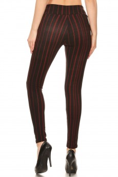 BLACK/RED STRIPE PRINT TREGGING WITH ZIPPER DETAIL#8TRG03-16