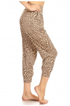 BROWN/BLACK ANIMAL PRINT HAREM CROPPED LOOSE FIT JOGGER#8TRK04-SK01A