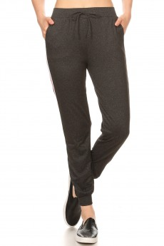 HEATHER CHARCOAL CONTRAST WB&CUFF JOGGER W/ SIDE STRIPE TWILL TAPE#8TRK09-08