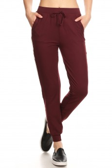BURGUNDY CONTRAST WB & CUFF JOGGER W/ SIDE STRIPE TWILL TAPE #8TRK09-09