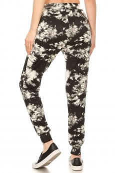 BLACK/WHITE TIE DYE PRINT BRUSH POLY JOGGER #8TRK19-11