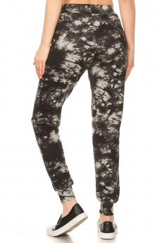 BLACK/GREY TIE DYE PRINT BRUSH POLY JOGGER#8TRK19-12