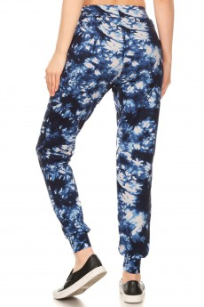 NAVY/WHITE TIE DYE PRINT BRUSH POLY JOGGER#8TRK19-13