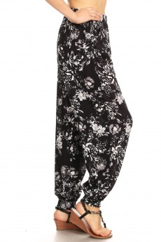 BLACK/WHITE ABSTRACT FLORAL PRINT HAREM JOGGER W/ FRONT SASH#8TRK20-12
