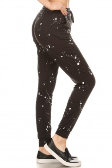 BLACK/WHITE PAINT SPLASH PRINT SOFT FRENCH TERRY JOGGER#8TRK30-01